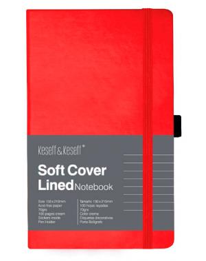 Libreta de notas color rojo con portalapicero