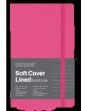 Libreta de notas color magenta con portalapicero