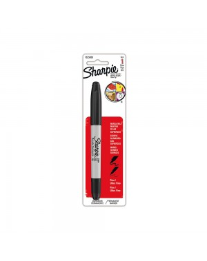 Sharpie Marcador doble punta negro blister x 1