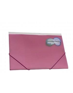 Porta documento con liga A4 cristal rojo