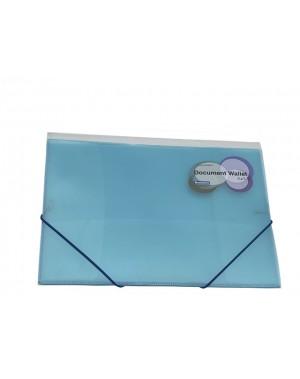 Porta documento con liga A4 cristal azul